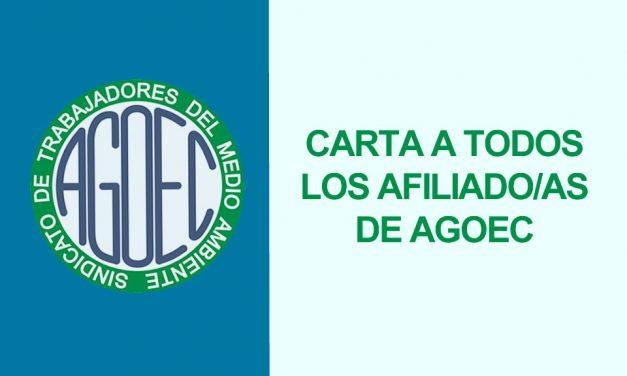 CARTA A TODOS LOS  AFILIADO/AS DE AGOEC